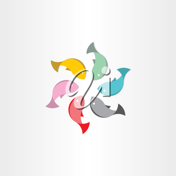 fish in circle abstract vector symbol design