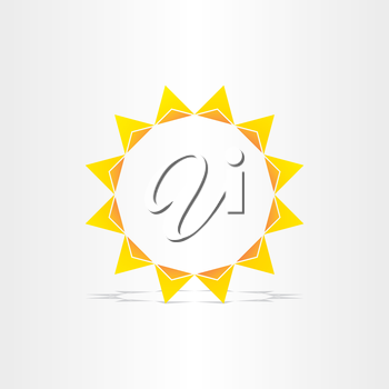 stylized sun rays hot energy icon design