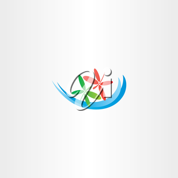 dragonfly in love and water wave vector logo icon symbol