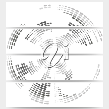 Web banners set of header layout templates, circle halftone vector backgrounds for your website design.