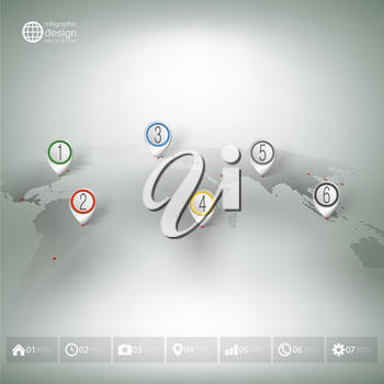 World map with pointer marks. Infographics for business design and website template.