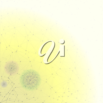 Flower in the shape of molecular structure, yellow background for communication, vector illustration.