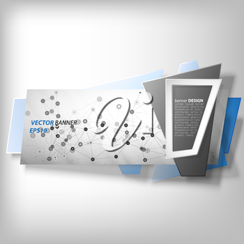 Gray Infographic banner, modern abstract banner design for infographics, business design and website template, origami styled vector illustration.