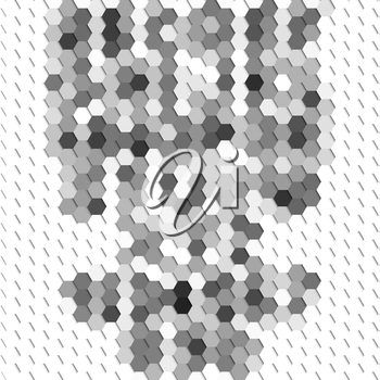 Gray geometric background, abstract hexagonal pattern vector.