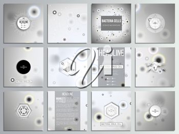 Set of 12 creative cards, square brochure template design. Molecular research, illustration of cells in gray, science vector background.