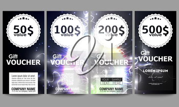 Set of modern gift voucher templates. Electric lighting effect. Magic vector background with lightning.