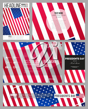Set of business templates for presentation, brochure, flyer or booklet. Presidents day background with american flag, abstract vector illustration.