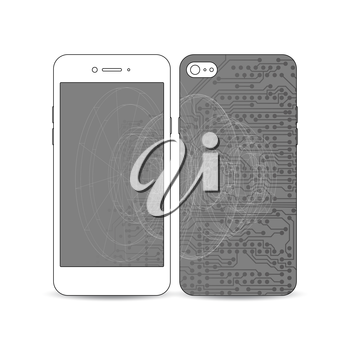 Mobile smartphone with an example of the screen and cover design isolated on white background. Microchip background, electrical circuits, science design vector template.