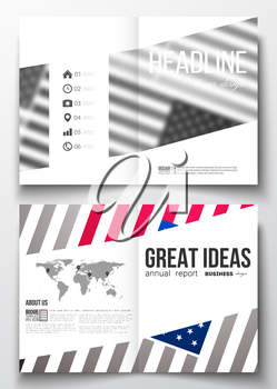Set of business templates for brochure, magazine, flyer, booklet or annual report. Memorial Day background with abstract american flag, vector illustration.