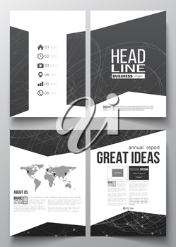 Set of business templates for brochure, magazine, flyer, booklet or annual report. Molecular construction with connected lines and dots, scientific or digital design pattern on black background.