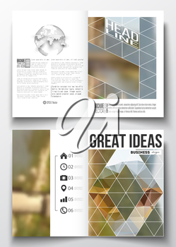Set of business templates for brochure, magazine, flyer, booklet or annual report. Colorful polygonal backdrop, blurred background, modern stylish triangle vector texture.