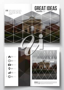 Set of business templates for brochure, magazine, flyer, booklet or annual report. Polygonal background, blurred image, urban landscape, Paris cityscape, modern triangular vector texture.