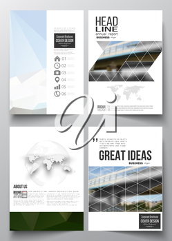 Set of business templates for brochure, magazine, flyer, booklet or annual report. Colorful polygonal background, blurred image, urban scene, modern stylish triangular vector texture.