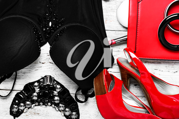 Set with corset womens ,shoes and red clutch bag