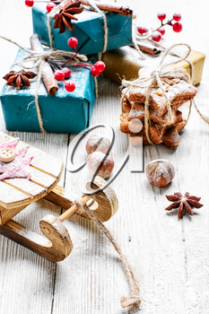 Christmas decoration with sleigh of Santa Claus and gifts