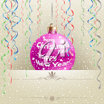 Christmas card with hanging bauble and ribbons on the light snow mesh background