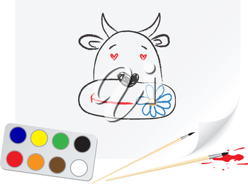 Nursery drawing cow on a paper