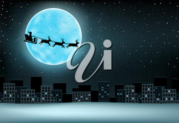 The Santa Claus with reindeer flying over night city, large moon with craters and stars on background