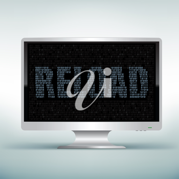 The programming reload code on white computer monitor with black screen background