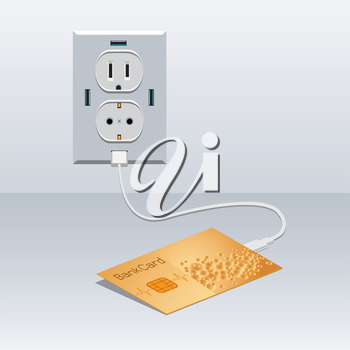Bank golden card cash charging from usb outlet background. Idea concept loading money