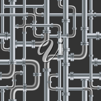 Black pipe seamless on black background. Industry pump water gas oil gasoline diesel fuel supply system. Pipeline project plan. Easy to edit