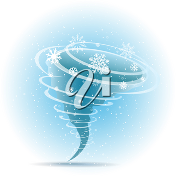 Winter snow tornado icon with shadow on blue background. Christmas swirl snowflakes storm