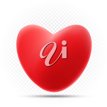 Red heart with shadow on white transparent background