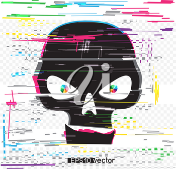 Black glitch hack skull and colors line interference on white background. Computer crime hacker attack illustration