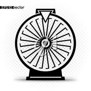 Fortune wheel icon symbol. Gamble twenty four lottery prize spin space object silhouette with shadow