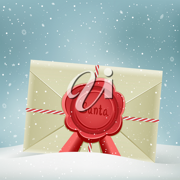 Christmas letter from Santa on snowy winter background. Holiday greeting envelope with message.