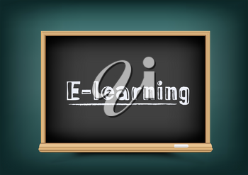 E-learning online school chalkboard with text message. Distance education blackboard on dark green background