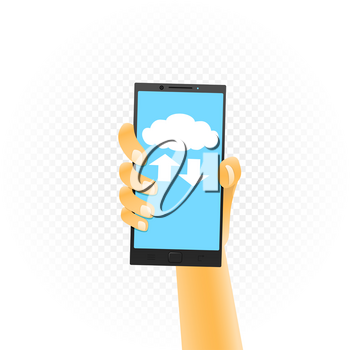 Smartphone in hand cloud service on white background. Phone clouds wireless network communication