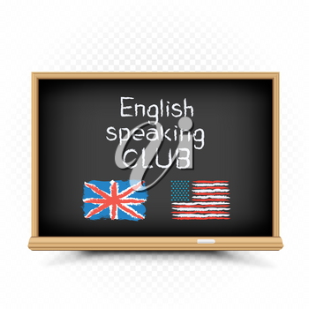 English speaking club text message draw on chalkboard on white background. English language education lessons illustration