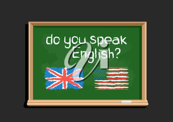 Do you speak text message draw on green chalkboard on dark background. English language education lessons illustration