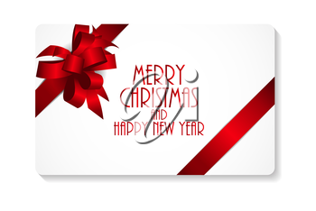 Gift Card with Red Bow and Ribbon Vector Illustration EPS10