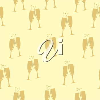 Two Glasses of Champagne Silhouette Seamless Pattern Background Vector Illustration EPS10
