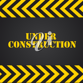 Under Construction on Yellow and Black Background. Vector Illustration Eps10