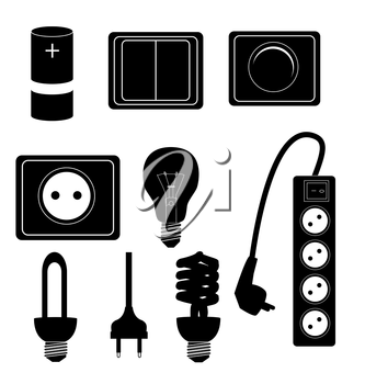 Electric accessories silhouette icons vector illustraton. EPS10