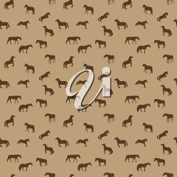 Horse Runs, Hops, Gallops Isolated. Seamless Pattern