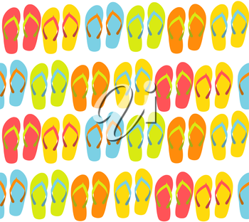 Beach Seamless Background with Flip Flops Vector Illustration EPS10