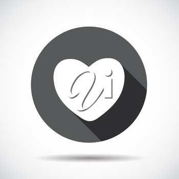 Heart  Flat Icon with long Shadow. Vector Illustration. EPS10