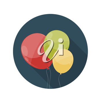 Flat Design Concept Balloons Icon Vector Illustration With Long Shadow. EPS10