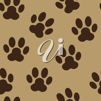 Animal Paw Seamless Pattern Background Vector Illustration. EPS10