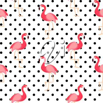 Cute Seamless Flamingo Pattern Vector Illustration EPS10