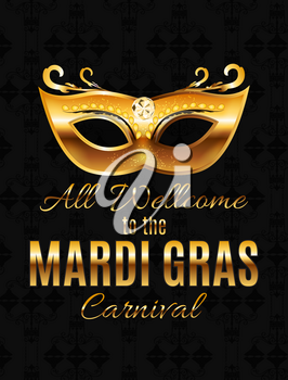 Mardi Gras Party Mask Holiday Poster Background. Vector Illustration EPS10