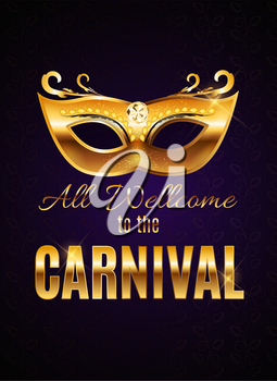 Carnival Party Mask Holiday Poster Background. Vector Illustration EPS10