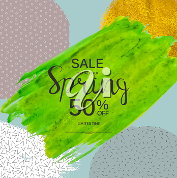 Abstract Design Spring Sale Banner Template. Vector Illustration EPS10