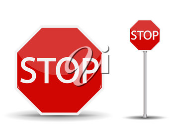 Red road sign Stop. Vector Illustration EPS10