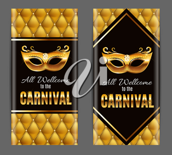 Popular Event Brazil Carnival in South America During Summe.  Background With Party Mask.  Masquerade Concept. Vector Illustration EPS10