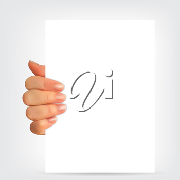 Realistic 3D Silhouette of hand with white paper. Vector Illustration. EPS10